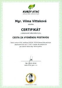 Vilma Vittek - certifikát cesta za vysnenou postavou