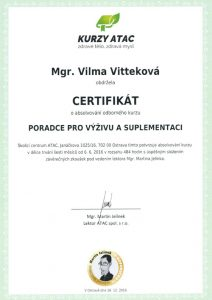 Vilma Vittek, Certifikát ATAC